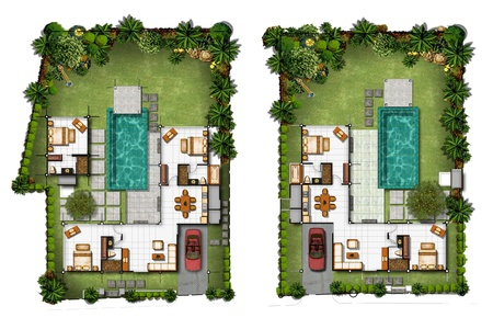 furniture detail: 3d Proposal of planning house with with green area