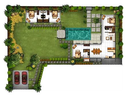 緑豊かなエリアでの家の計画の 3 d の提案
