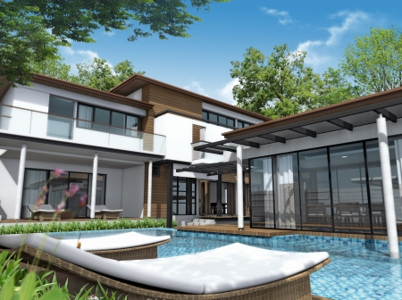 glass house: 3d render of building