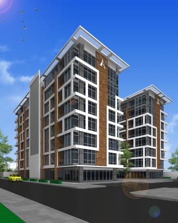 residents: 3d render of building