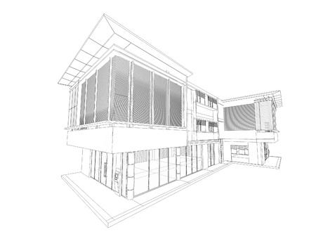 Wireframe van gebouw