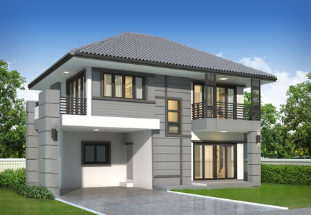 house render: 3d render of building