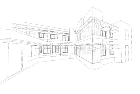 Wireframe of building Imagens - 16386061
