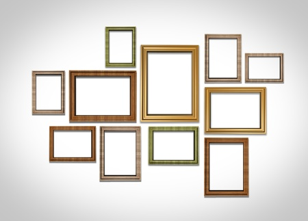 picture frames on white wall