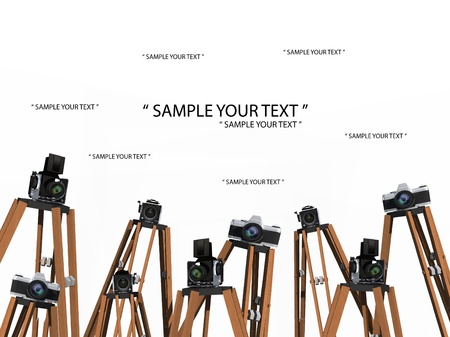 Blank photo frames with cameras isolated on white background  Imagens