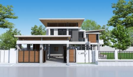 3D building tropical house  Stock Photo