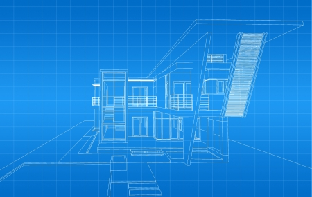 house blueprint: Wireframe of building