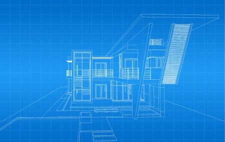 modern buildings: Wireframe of building