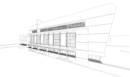 dibujo tecnico: Wireframe del edificio Foto de archivo
