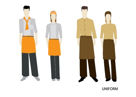 restaurant staff: The Uniform complete set Isolated over white background