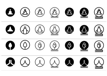 indian yoga: Set di icone orientali concetto Templates
