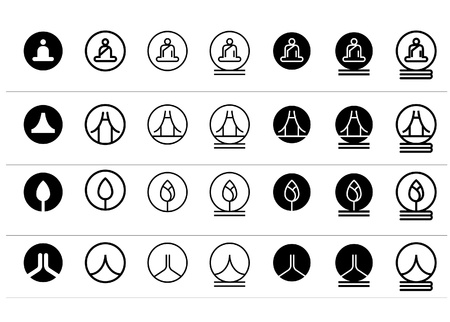 lotus temple: Set of concept Oriental icons  Templates  Illustration