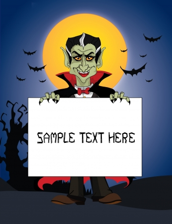 Count Dracula holding sign Illustration