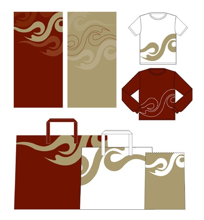 thai style: clothes collection, shirts bags on a white background   Illustration