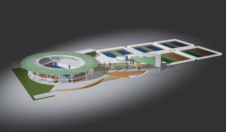 Proposal of perspective building, 3d rendering  photo