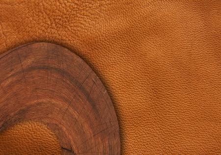 wood on leather background  photo