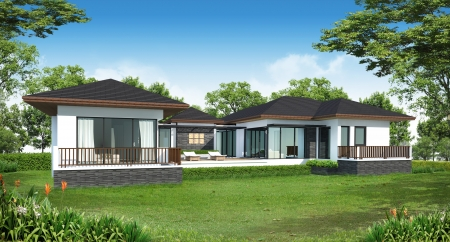 rendering: 3d rendering tropical modern house  Stock Photo