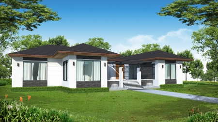 home and garden: 3d rendering tropical modern house  Stock Photo