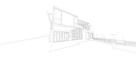 3d render wireframe of building Stock Photo