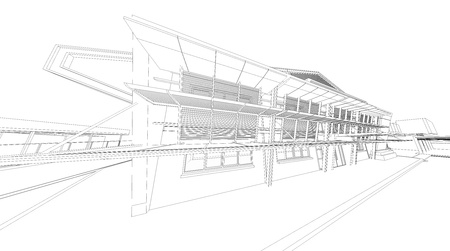 exterior architectural details: Wireframe of building