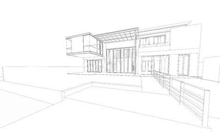 Wireframe of building  photo