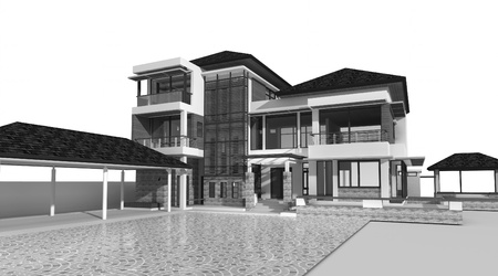 comtemporary: Proposal of perspective building, 3d rendering