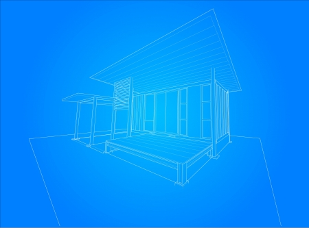 3d render wireframe of building Vector