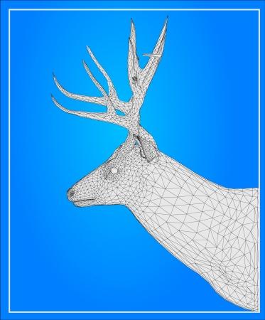 of antelope: Deer isolated on blue background Illustration