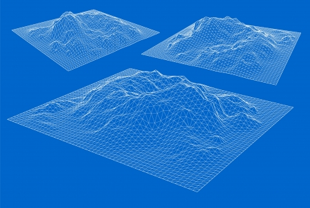 3D wireframe of contour Vector