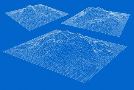 longitude: 3D wireframe of contour Illustration