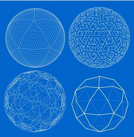 Wireframe of sphere  Vector