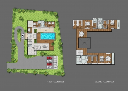 interior plan: Proposal planning of house with green area  Stock Photo