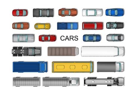 Bovenaanzicht verschillende auto's die geïsoleerd op wit Stockfoto