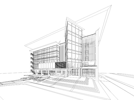 Wireframe of building Stock Photo - 19638285