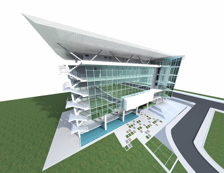 architectural rendering: 3D render of a building