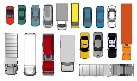 view: 3d of Various Isolated Cars, Top View Position  Stock Photo