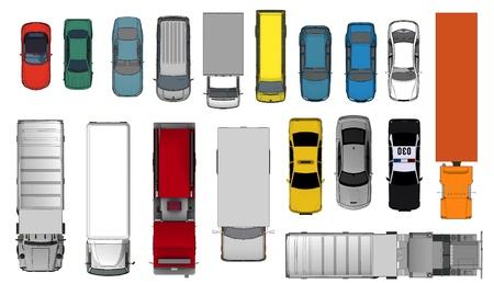 bovenaanzicht mens: 3d van Various Geïsoleerde Cars, Top View Position Stockfoto