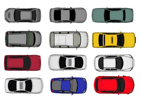 roof top: 3d of Various Isolated Cars, Top View Position  Stock Photo
