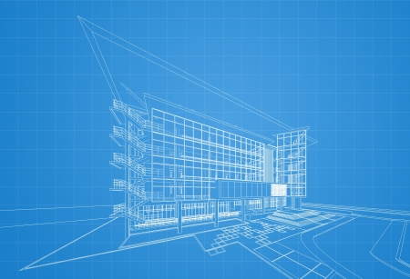 cad drawing: Wireframe of building