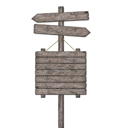 direction board: Old weathered wood sign isolated