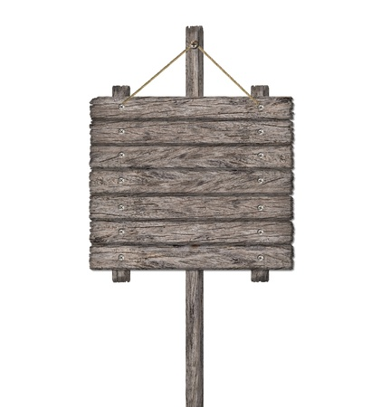 notice board: Old weathered wood sign isolated