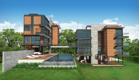 3d render of building, tropical modern house