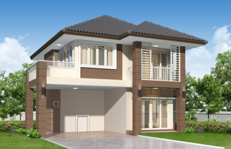 balcony design: 3d render of building, tropical modern house