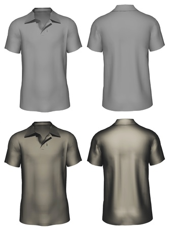 3d Men s t-shirt design template   front, back  photo