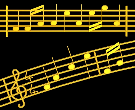 crotchets: Various 3d musical notes in gold