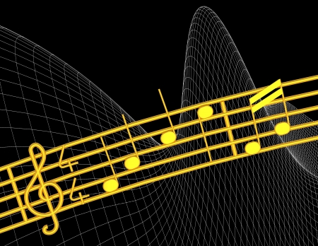 g clef: Various 3d musical notes in gold