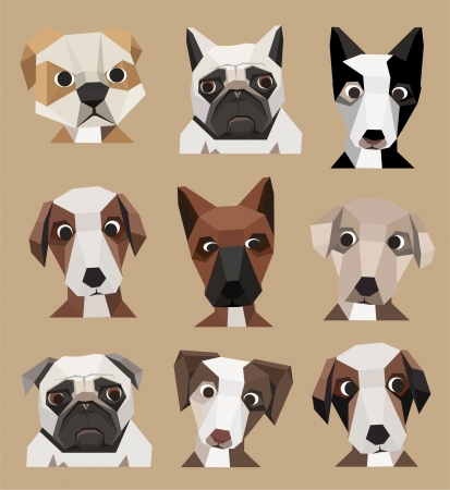 large group of animals: Cute dogs set
