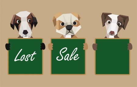 chipboard: Three dogs holding green chalk board  Illustration