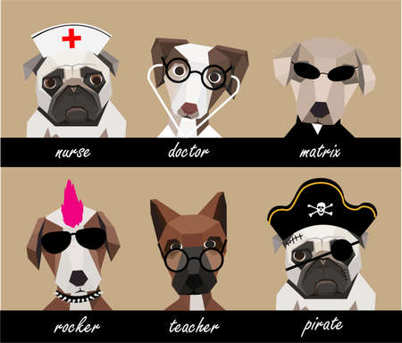 nurse cartoon: Dog character set B