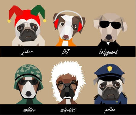 Dog character set A Vector
